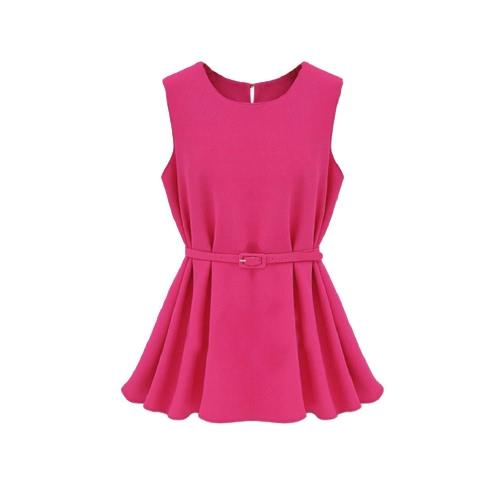 Nueva moda las mujeres blusa de Gasa Color caramelo cuello redondo sin mangas blusas rosa