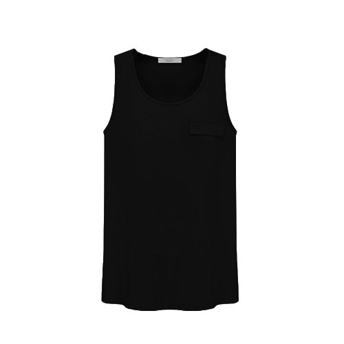 New Fashion Women Tank Top Candy Color Round Neck Sleeveless Pocket Shirt Blouse Tops Black