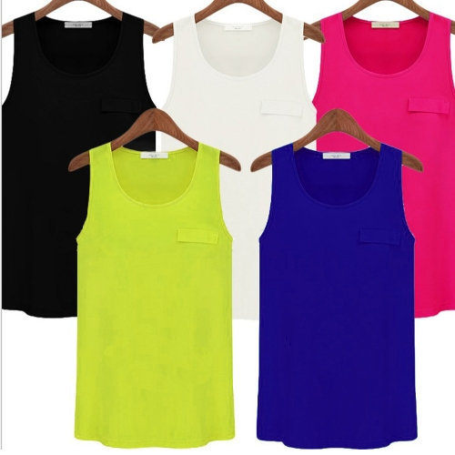 TOMTOP / Nova moda mulheres Tank Top Candy cor redondo pescoço sem mangas bolso camisa blusa no máximo preto