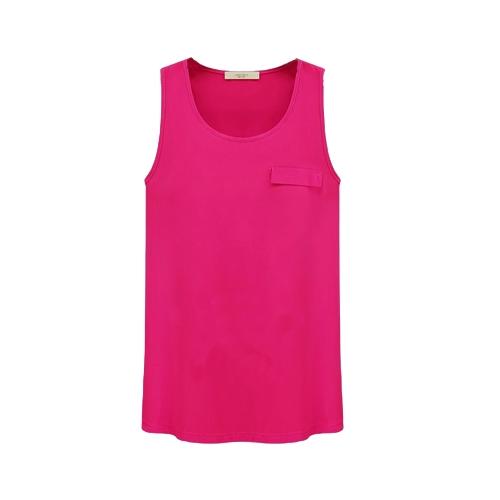 Tapas de nueva moda mujeres Tank Top Color caramelo cuello redondo sin mangas bolsillo camisa blusa rosa