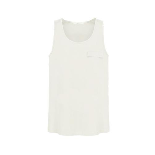 Tapas de nueva moda mujeres Tank Top Color caramelo cuello redondo sin mangas bolsillo camisa blusa blanca