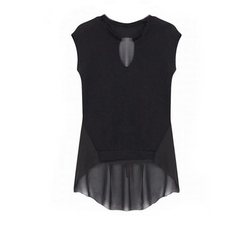Nueva moda mujer camiseta imitación Patchwork dos piezas blusa sin mangas Irregular Tops negro de punto