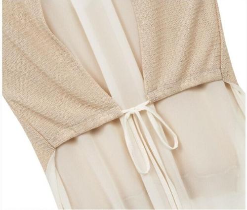 TOMTOP / Nova moda de mulheres de malha t-shirt do falso Patchwork duas peças sem manga blusa Irregular Tops bege