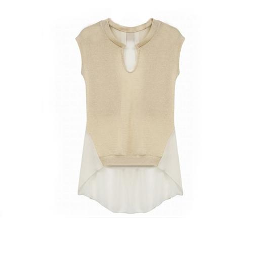 Nueva moda mujer camiseta imitación Patchwork dos piezas blusa sin mangas Irregular Tops Beige de punto