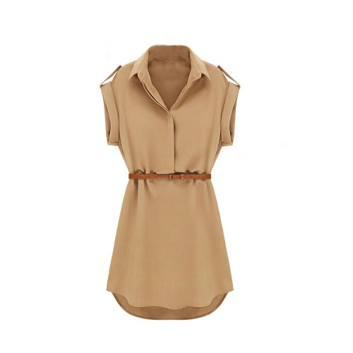 Neue Mode Damen Shirt Kleid Turn-Down-Kragen Kurzarm Mini Kleid Camel