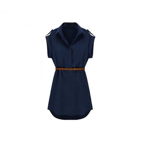 Nueva moda mujer camisa vestido dé vuelta-abajo cuello manga corta Mini vestido azul oscuro