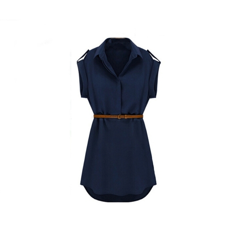 New Fashion Women Shirt Dress Turn-down Collar Short Sleeve Mini Dress Dark Blue