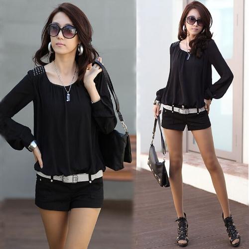 Fashion Women Chiffon Blouse Puff Long Sleeve Pullover Shirt Tops Black
