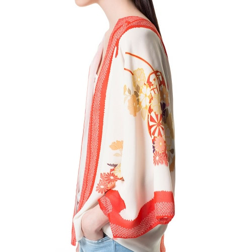 New Vintage Women Chiffon Kimono Floral Print Three Quarter Sleeves Loose Casual Outerwear Red