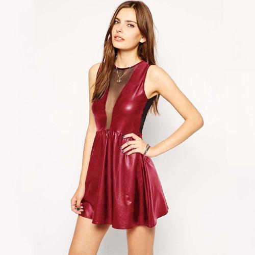 New Sexy Women PU Dress Leather Look Mesh Open Back Sleeveless Bodycon Clubwear Skater Dress Burgundy