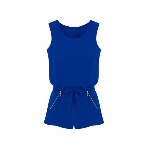 Nova moda mulheres do Chiffon Rompers aberto volta sem mangas curtas calças macacão azul Royal