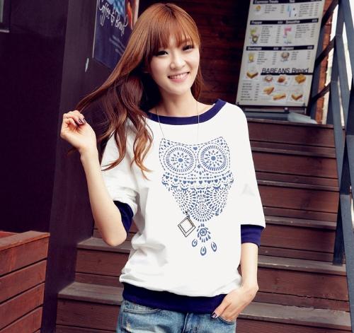 Nueva moda mujer camiseta búho imprimir blanco bloque mitad Batwing manga tapas