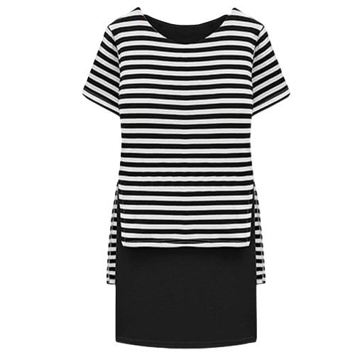 New Casual Women Dress Stripe Overlay O-Neck Short Sleeves Fashion One-piece Black