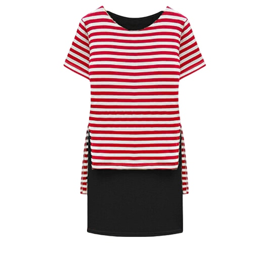 New Casual Women Dress Stripe Overlay Crew Neck Short Sleeves Fashion One-piece Red