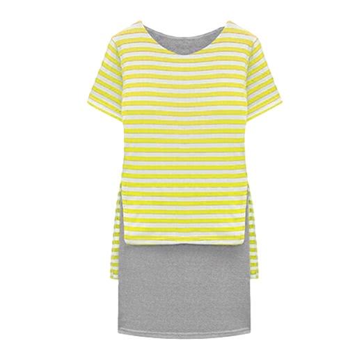 Nueva mujer Casual Vestido raya Overlay O cuello manga corta moda amarillo de una sola pieza