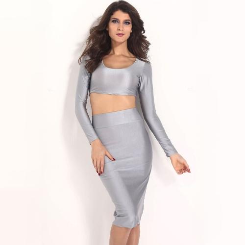 Mujeres sexy dos piezas manga larga Bodycon cultivo superior lápiz falda vestido Twin Set fiesta Clubwear gris