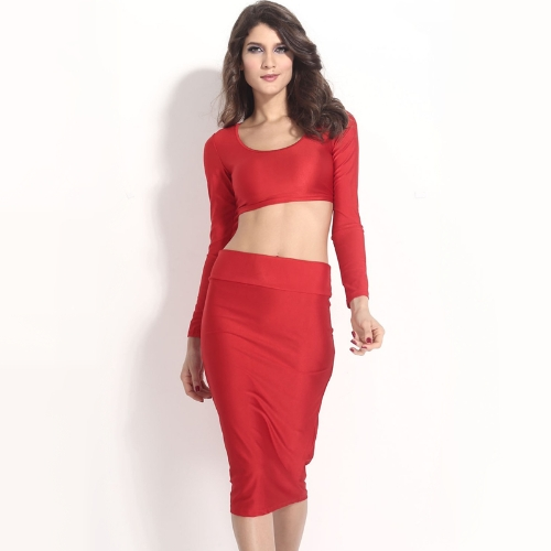 Mujeres sexy dos piezas manga larga Bodycon cultivo superior lápiz falda vestido Twin Set rojo fiesta Clubwear
