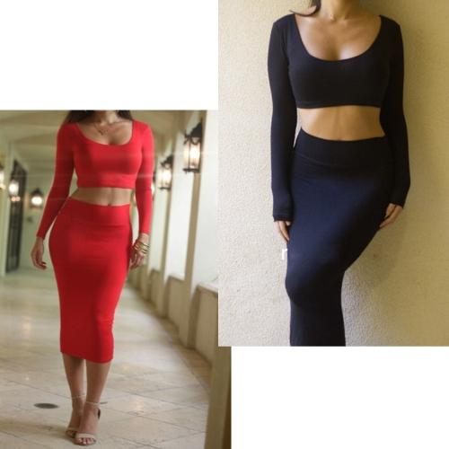 TOMTOP / Mulheres sexy duas peças manga longa Bodycon Crop Top lápis saia vestido Twin conjunto vermelho partido Clubwear