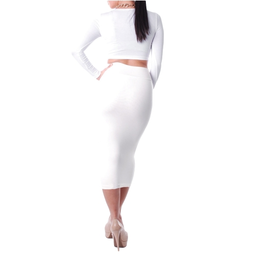 TOMTOP / Mulheres sexy duas peças manga longa Bodycon Crop Top lápis saia vestido Twin conjunto Clubwear festa branca