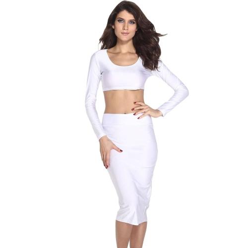 Mujeres sexy dos piezas manga larga Bodycon cultivo superior lápiz falda vestido Twin Set fiesta Clubwear blanco