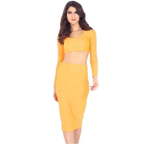 Mujeres sexy dos piezas manga larga Bodycon cultivo superior lápiz falda vestido Twin Set fiesta Clubwear amarillo