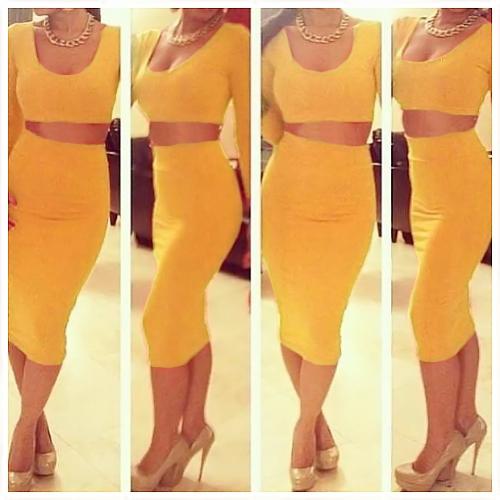 TOMTOP / Mulheres sexy duas peças manga longa Bodycon Crop Top lápis saia vestido Twin Clubwear festa conjunto amarelo