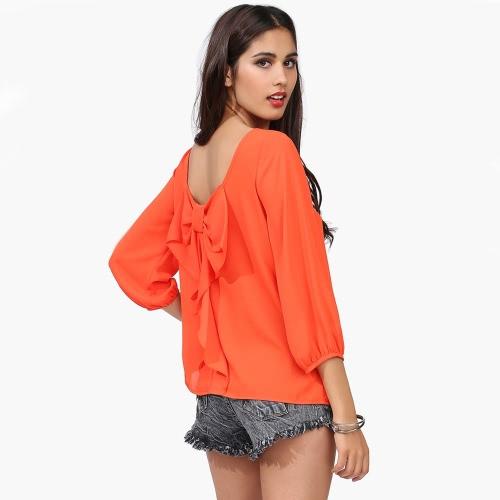 Sexy Women Chiffon Blouse Cut Out Back Bowknot Loose Tops Orange