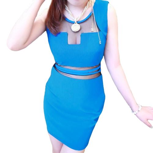 Sexy Women Mini Dress Mesh Insert See-through Back Crew Neck Sleeveless Clubwear Party Dress Blue