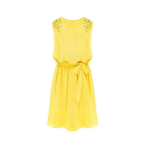 Moda mujer vestido de gasa del grano a mano hombro chaleco sin mangas plisadas vestido amarillo