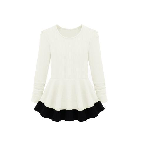 As mulheres da moda vestem gola redonda manga comprida Ruffle falso duas peças Mini vestido branco