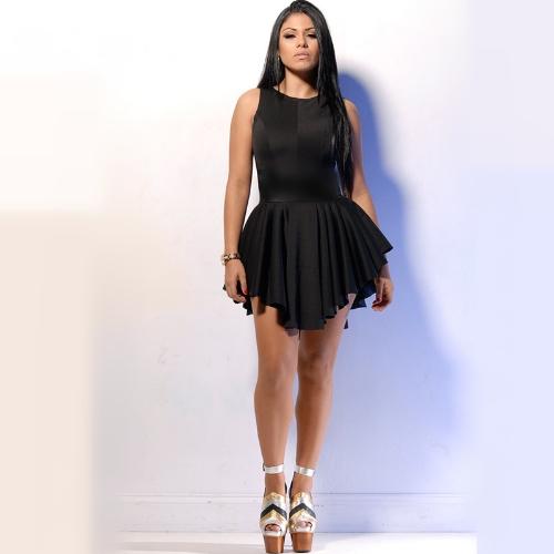 Mujeres Sexy de moda vendaje de vestido sin mangas llamarada asimétrico plisado vestido de fiesta negro