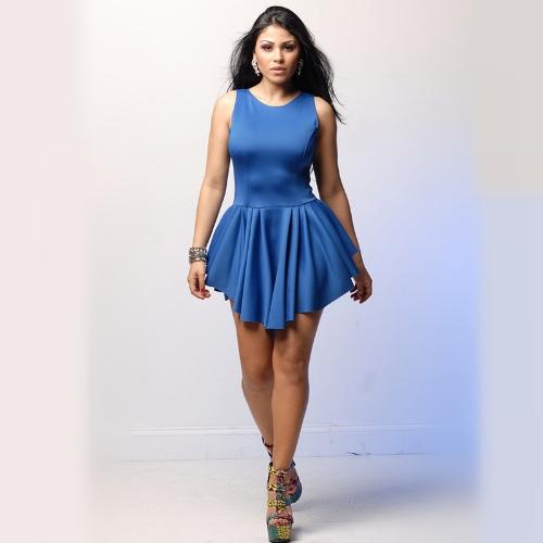 Mujeres Sexy de moda vendaje de vestido sin mangas plisado asimétrico llamarada Vestido de fiesta azul