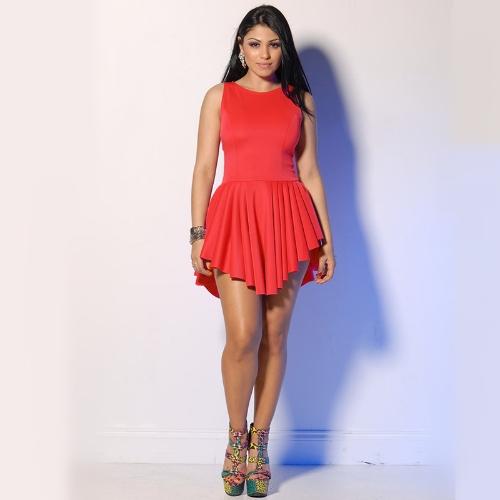 Mujeres Sexy de moda vendaje de vestido sin mangas plisado asimétrico llamarada Vestido de fiesta rojo