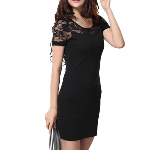 Fashion Sexy Women Lace Floral Dress Round Neck Short Sleeve Mini Dress Black