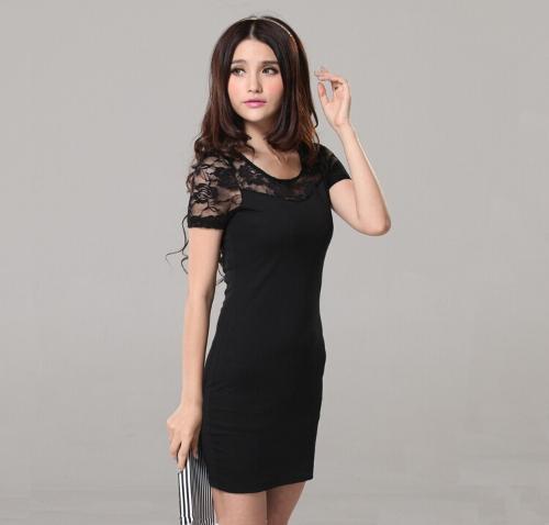 Moda mujer Sexy de encaje Floral vestido de cuello redondo manga corta Mini vestido negro