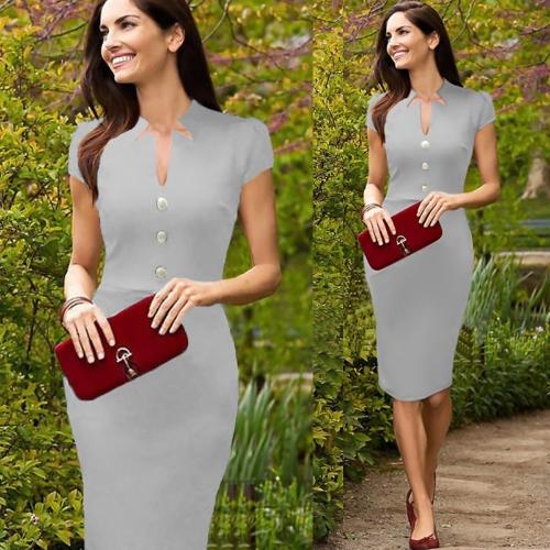 Mujeres celebridad lápiz vestido escote en v Cap manga rodilla trabajo OL Vestido de Cóctel de fiesta gris