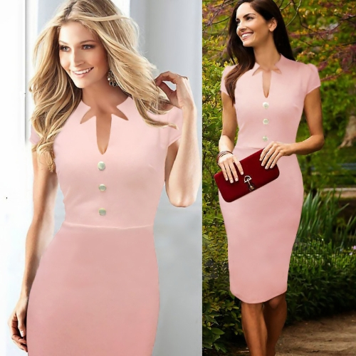 Mujeres celebridad lápiz vestido escote en v Cap manga rodilla trabajo OL fiesta vestido de Cóctel rosa