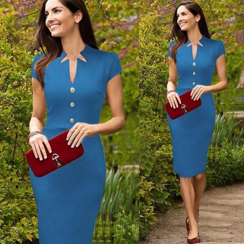 Mujeres celebridad lápiz vestido escote en v Cap manga rodilla trabajo OL fiesta vestido de Cóctel azul