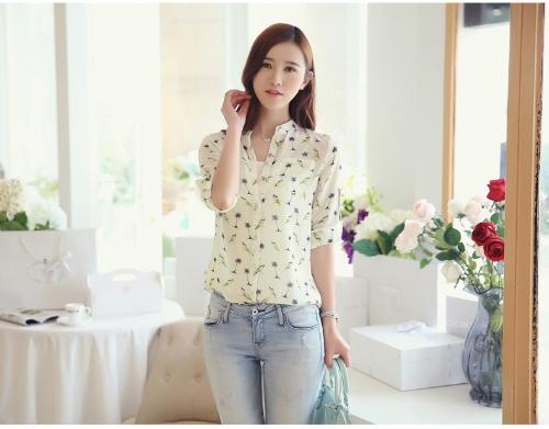 Mulheres Vintage do Chiffon camisa impressão Stand colarinho manga longa blusa nova com camisola branca