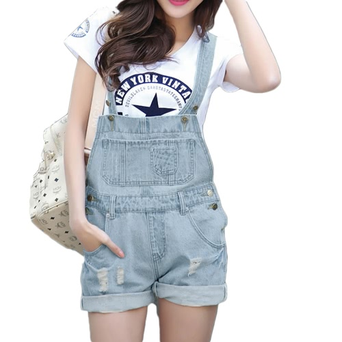 Fashion Women Denim Rompers Strap Pockets Frayed  Ripped Holes Overalls Jumpsuits Shorts Jeans Light Blue