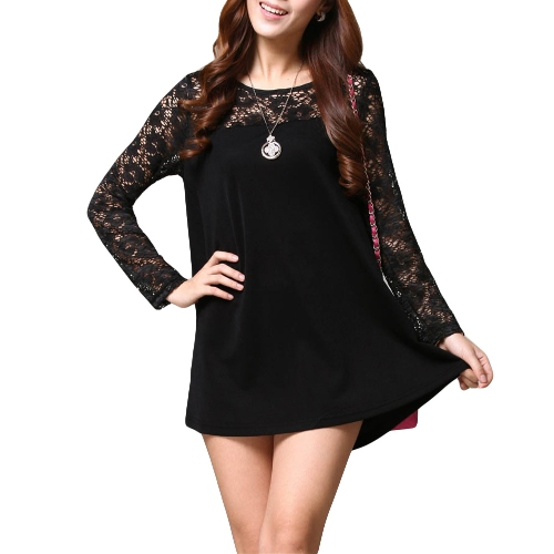 Moda mujer suelta blusa encaje empalme cuello redondo manga larga t Tops camisa negra