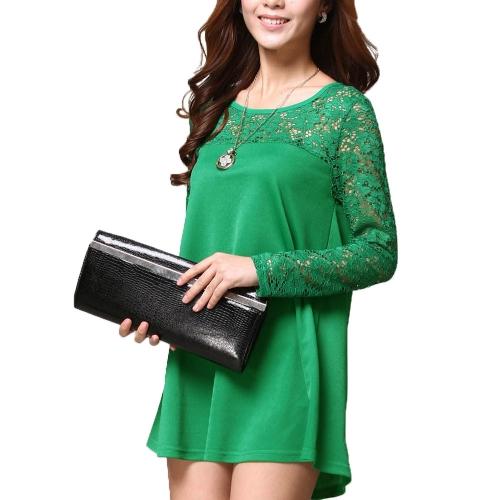 Moda mujer suelta blusa de encaje empalme cuello redondo manga larga t Tops camisa verde