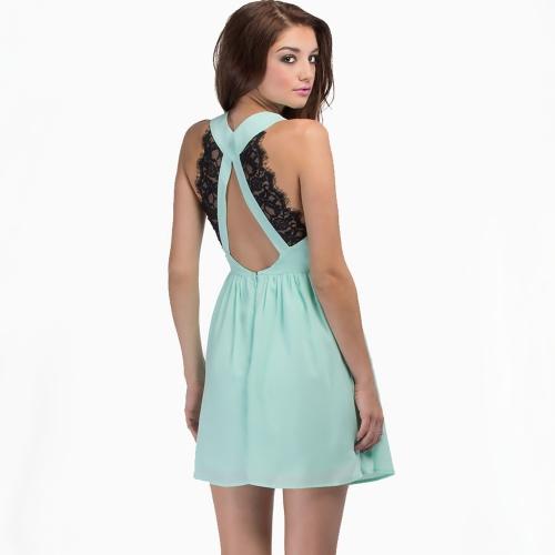 Las mujeres de moda Sexy vestido de encaje sin respaldo Patchwork V cuello noche sin mangas vestido de fiesta Mini azul claro