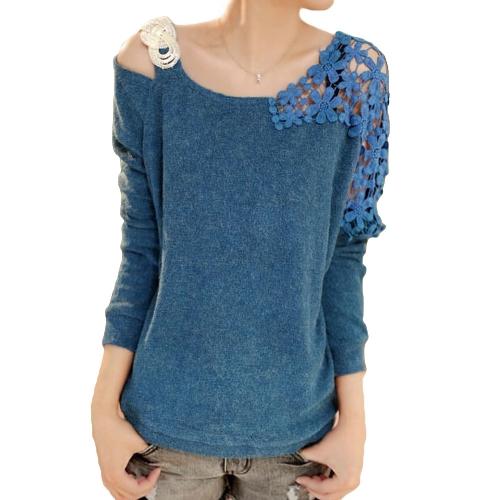 Mode Frauen gestrickter Bluse Sequin Lace Flower Schulter Langarm Pullover Strickwaren Pullover blau