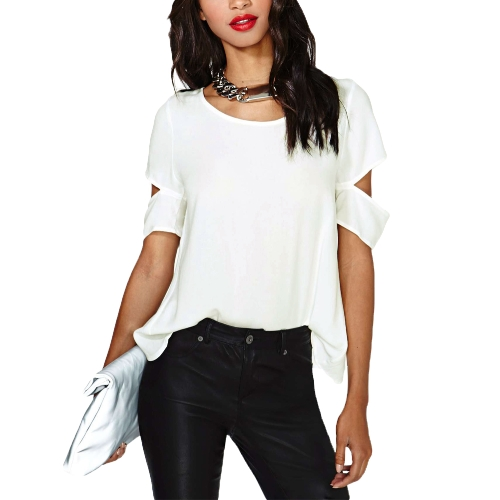 New Fashion Women Chiffon Blouse Sexy Wrap Back Cutout Short Sleeves Crew Neck Casual Tops White
