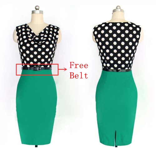 Neue Mode OL Damen Pencil Kleid Polkadot drapiert Hals Patchwork ärmellos Bodycon Belted Kleid grün