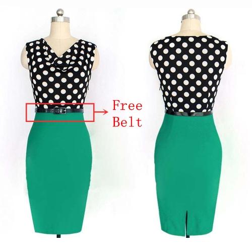 Nueva moda OL mujeres lápiz vestido lunares vestido Bodycon sin mangas de cuello Patchwork ceñido vestido verde