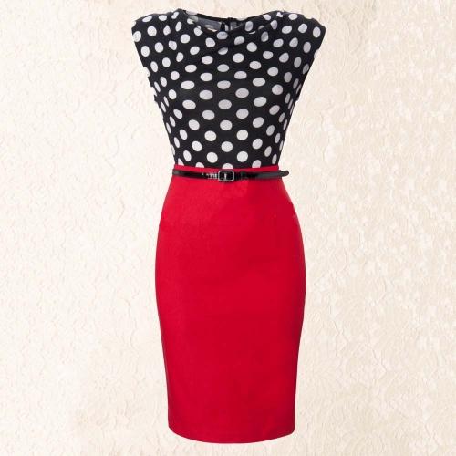 TOMTOP / Nova moda OL mulheres lápis vestido Polka Dot drapeado pescoço Patchwork Bodycon sem mangas com cinto vestido vermelho