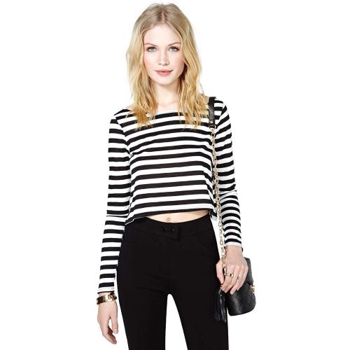 Hot Women Casual T-Shirt Stripe Crew Neck Long Sleeve Short Crop Top Black & White