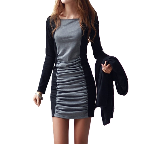 Neue Mode Frauen Kleid Patchwork Plissee Quadrat Kragen langarm Mini Sexy einteiligen schwarz